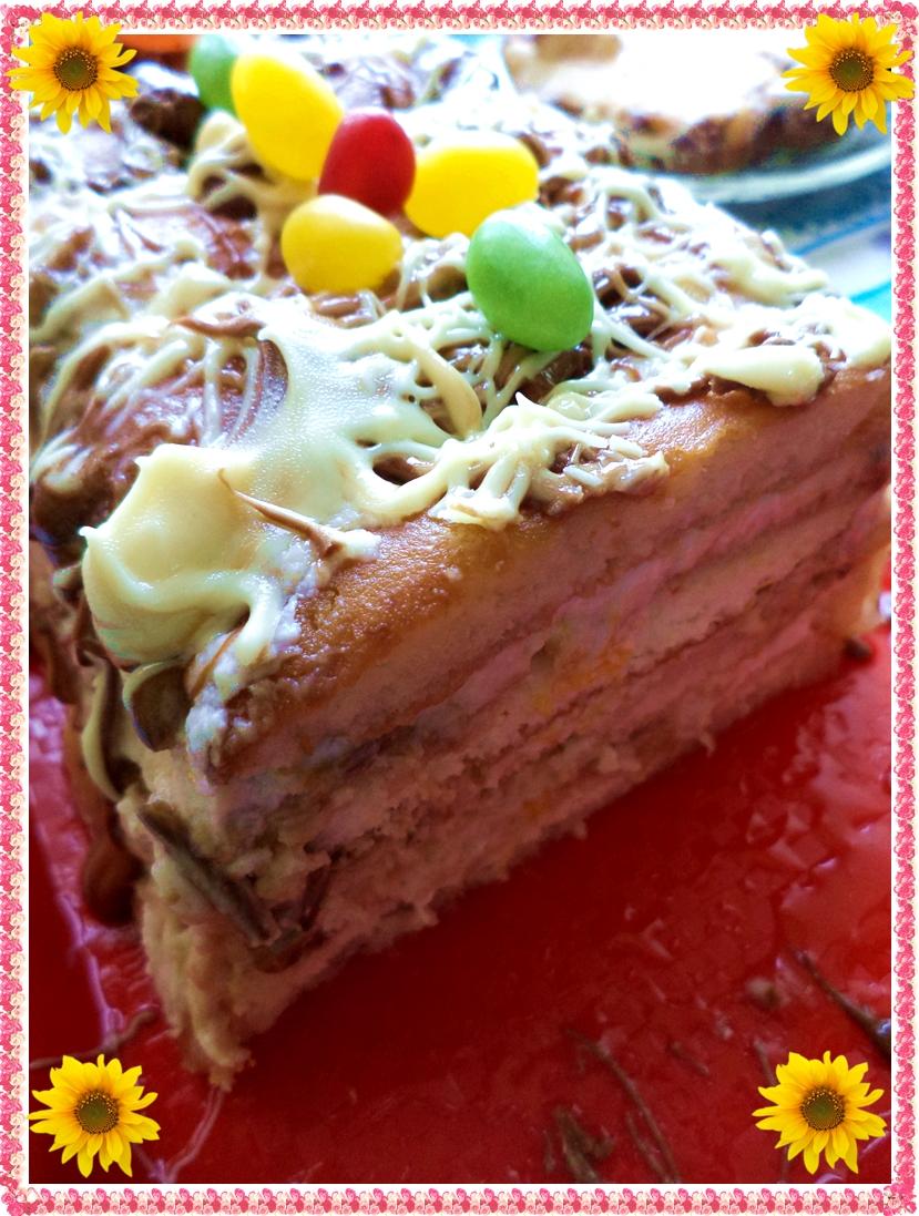 страхотна лятна торта с кисело мляко, бишкоти и плодове